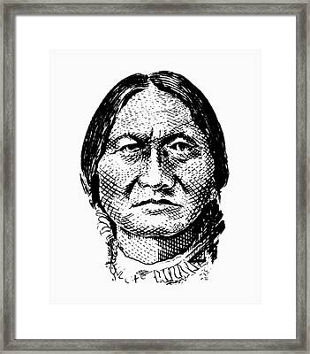 Sitting Bull Graphic Framed Print by War Is Hell Store