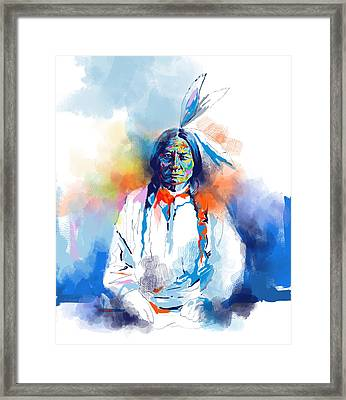 Sitting Bull Watercolor Framed Print