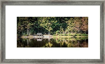 Sitting By The Lake On A Quiet Fall Morning Framed Print by Robert Anastasi
