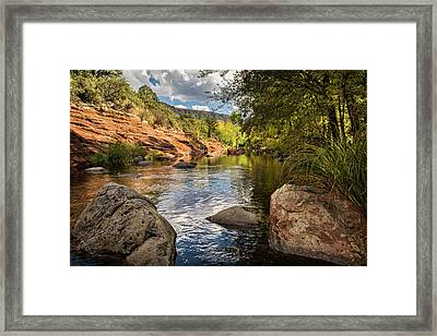 Framed Print featuring the photograph Sitting Creekside Oak Creek  by Saija Lehtonen