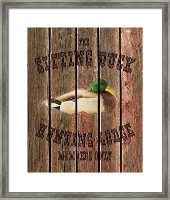 Sitting Duck Hunting Lodge Framed Print by TL Mair