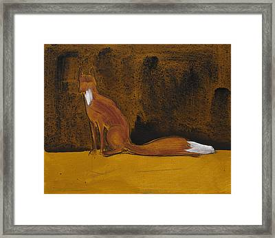 Sitting Fox In Iron Oxide And Lime Framed Print by Sophy White