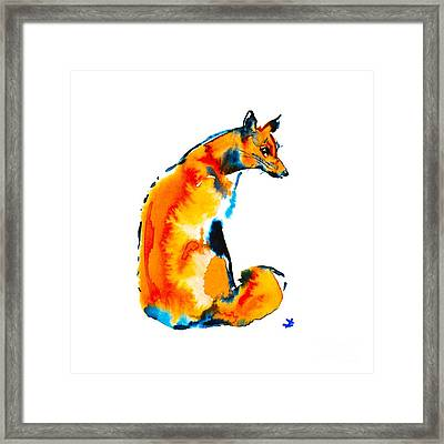 Framed Print featuring the painting Sitting Fox by Zaira Dzhaubaeva