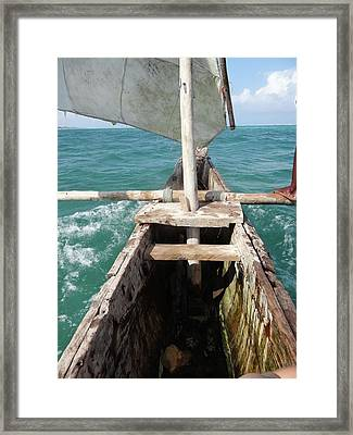 Sitting Inside A Wooden Fishing Dhow Framed Print