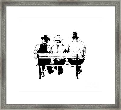Sitting On A Park Bench Framed Print