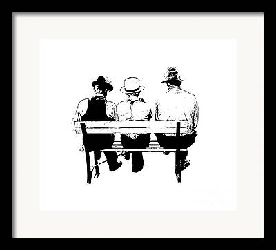 Park Benches Drawings Framed Prints