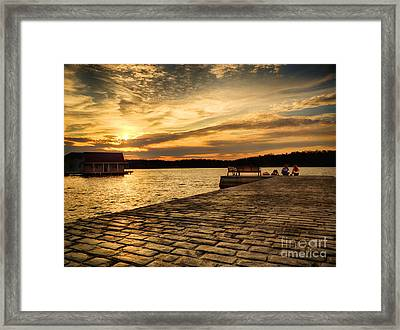 Sitting On The Dock Of The Lake Framed Print by Mark Miller