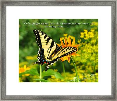 Framed Print featuring the photograph Sitting Pretty Giving by Diane E Berry