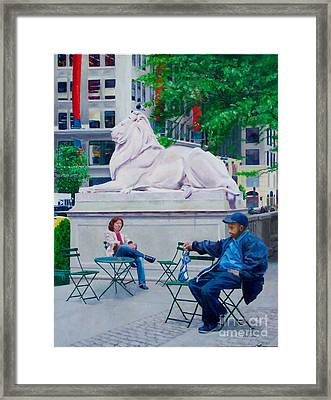 Sitting With Patience Framed Print by Lou Spina