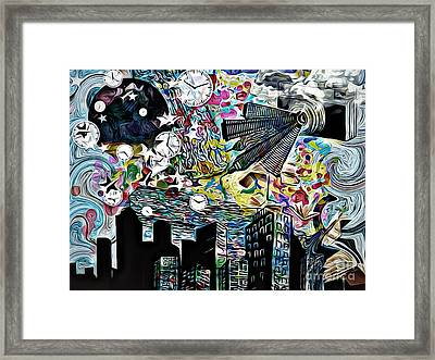 Sity  Abstract  Time, Collage,oil Framed Print by Olga Lyakh