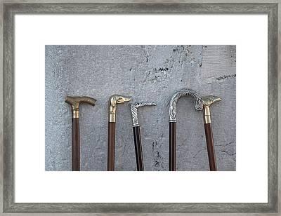 Siver And Bronze Walking Sticks Framed Print by Matjaz Preseren