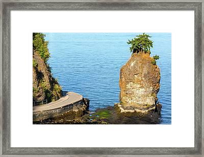 Siwash Rock By Stanley Park Seawall Framed Print by David Gn