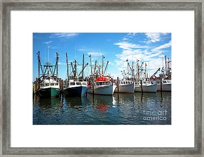 Framed Print featuring the photograph Six Boats In The Bay by John Rizzuto