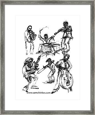 Six Musicians Framed Print by Sam Chinkes