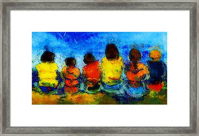 Six On The Shore  Framed Print