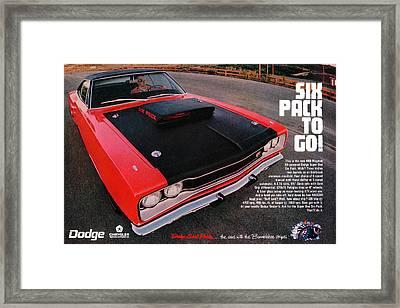 Six Pack To Go - 1969 Dodge Coronet Super Bee Framed Print