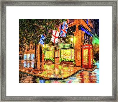 Framed Print featuring the mixed media Six Pence Pub - Savannah In The Rain by Mark Tisdale