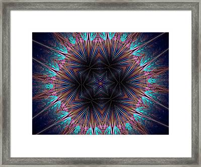 Six Petal Star Kaleidoscope Framed Print