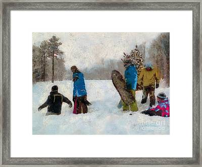 Six Sledders In The Snow Framed Print by Claire Bull