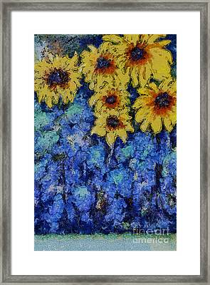 Six Sunflowers On Blue Framed Print by Claire Bull