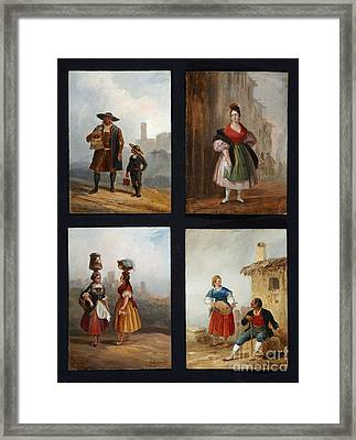 Sixteen Costumbrista Scenes With Spanish Folkloric Types Framed Print by MotionAge Designs