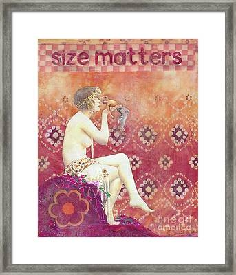 Framed Print featuring the mixed media Size Matters by Desiree Paquette