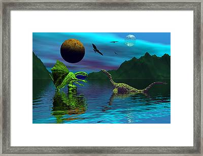Sizing Up The Other Guy Framed Print by Claude McCoy