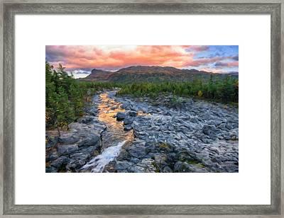 Sjoa River At Gjendesheim, Jotunheim National Park, Norway Framed Print