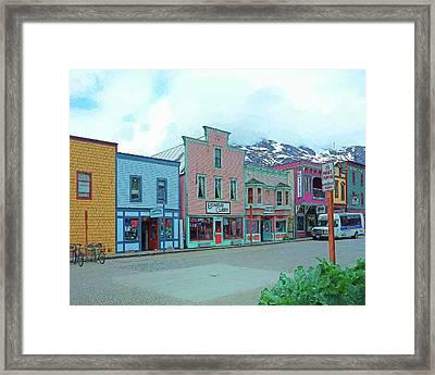Skagway Alaska Colorful Street Scene Framed Print