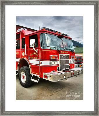 Skagway Fire Truck Framed Print by Mel Steinhauer