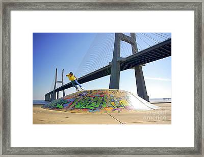 Skate Under Bridge Framed Print by Carlos Caetano