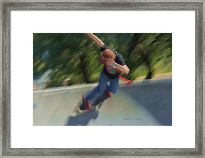 Skateboard Action Framed Print by Kae Cheatham