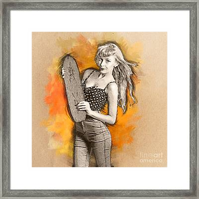 Skateboard Pin-up Illustration Framed Print by Jorgo Photography - Wall Art Gallery