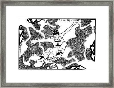 Skateboard Political Maze Cartoon By Yonatan Frimer Framed Print by Yonatan Frimer Maze Artist