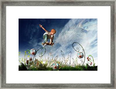 Skateboarder And Friends Framed Print by Carol and Mike Werner