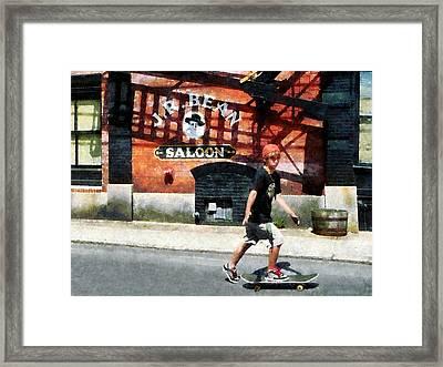 Skateboarder In Bristol Ri Framed Print