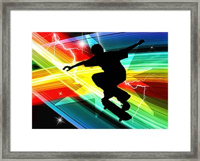 Skateboarder In Criss Cross Lightning Framed Print by Elaine Plesser