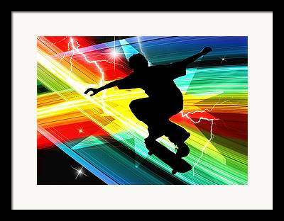 Figures Silhouettes Young Sport Grunge Athletes Framed Prints