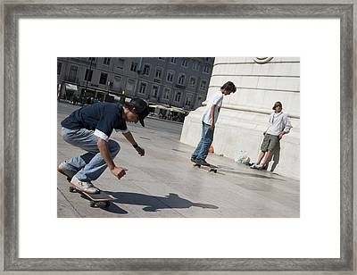 Framed Print featuring the photograph Skateboarder In Lisbon by Carl Purcell