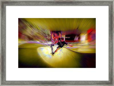 Framed Print featuring the photograph Skateboarding by Lori Seaman