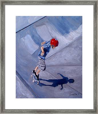 Framed Print featuring the painting Skateboarding by Quwatha Valentine