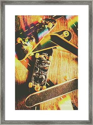 Skateboarding Tricks And Flips Framed Print
