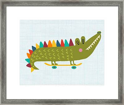 Skater Alligator Framed Print by Nicole Wilson