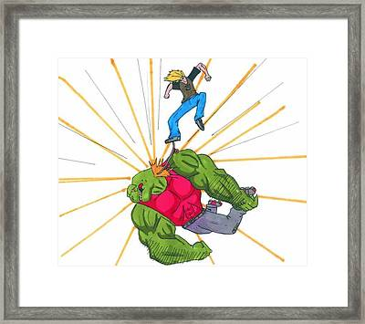 Skater Attack Framed Print by Rick Lowe