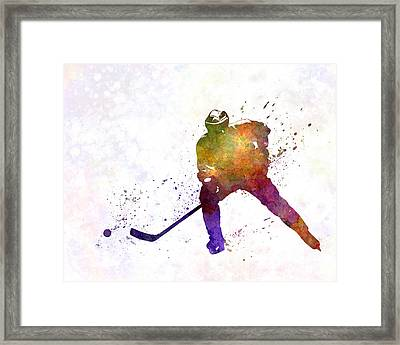 Skater Of Hockey In Watercolor Framed Print