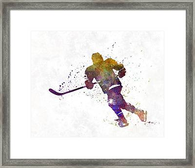 Skater With Stick In Watercolor Framed Print by Pablo Romero