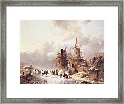 Skaters On A Frozen River Framed Print