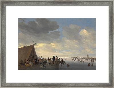 Skaters On The Frozen River Lek, The Town Of Vianen Beyond Framed Print