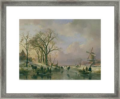 Skating In Holland Framed Print by Andreas Schelfhout