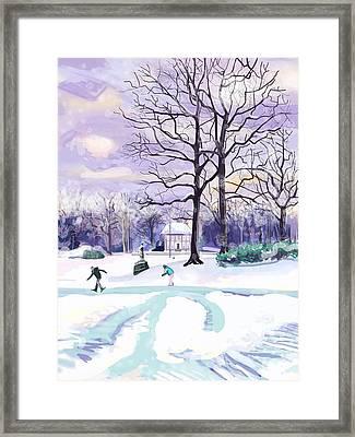 Skating In Huis Ter Heide Framed Print by Plum Ovelgonne